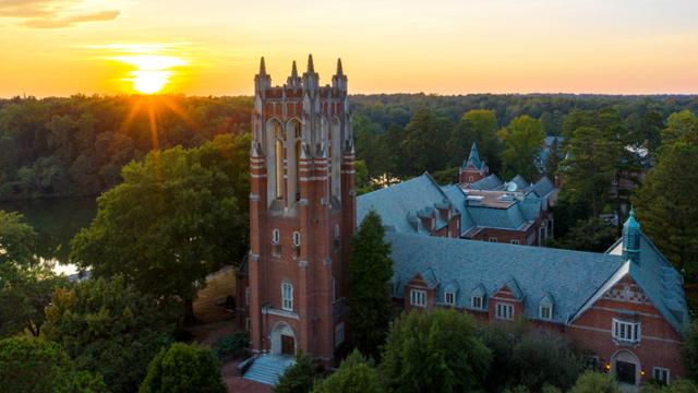 Sunset behind the tower of Boatwright Memorial Library