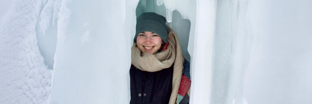 Rylin McGee posing in ice wall