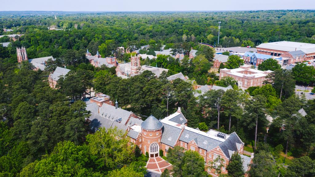 Aerial view of campus with the Robins School of Business in the foreground.