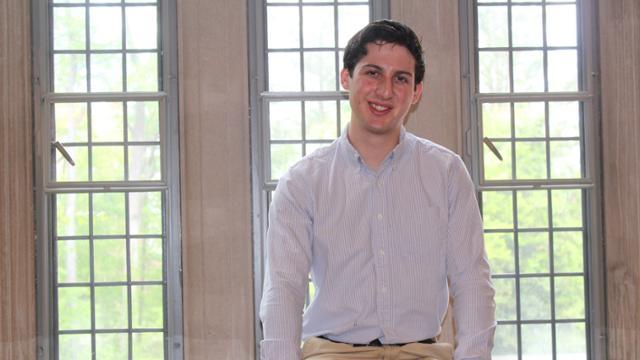 Casey Friedman by window in Jepson Hall