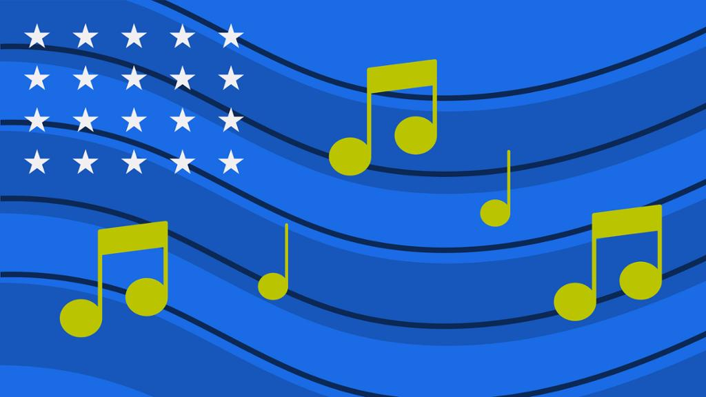 Illustration of flag and music notes