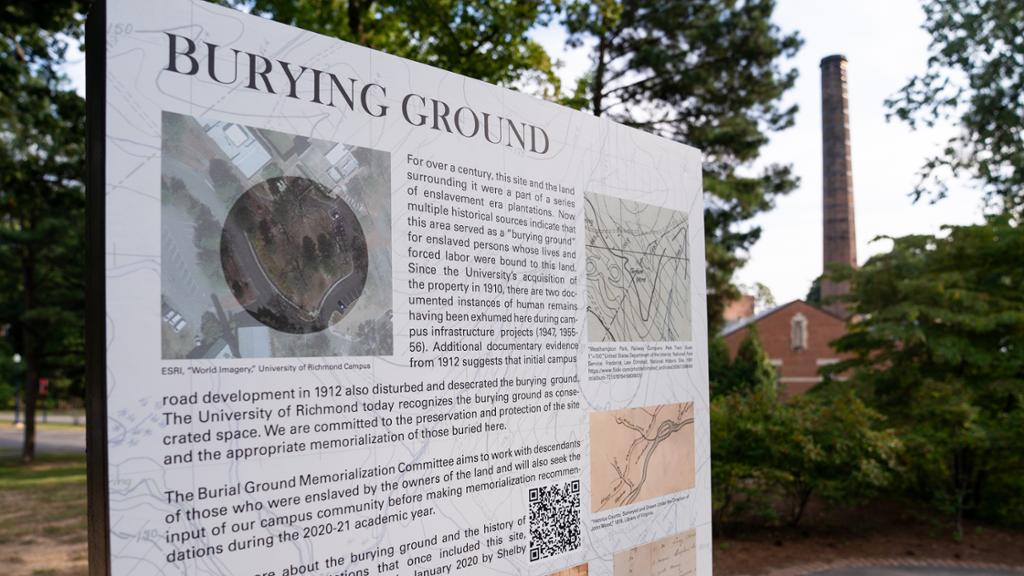 Sign marking the burial ground