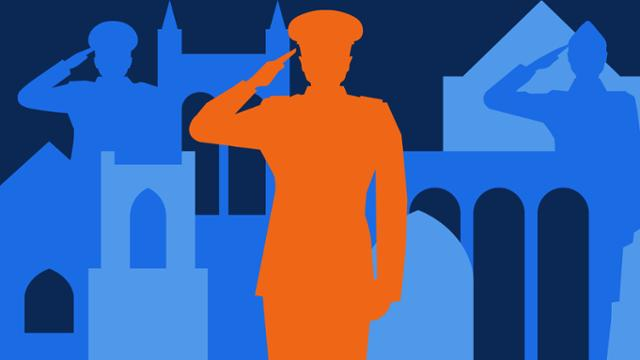 Veteran's Day illustration: a man saluting and architecture from campus