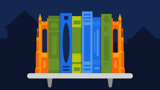 Illustration of books on a shelf and the silhouette of Boatwright
