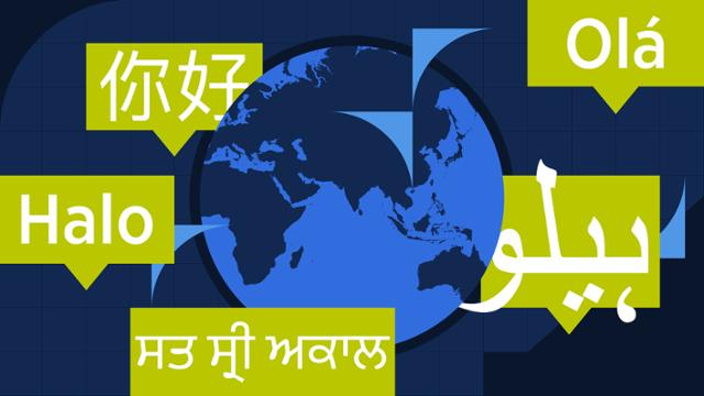 Illustration of globe and foreign languages