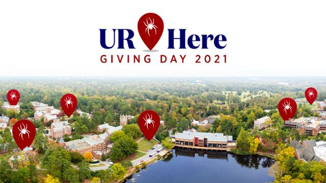 Giving Day illustration with image of campus