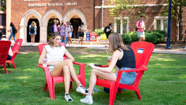 Students gathered as the fall semester kicked off, taking inWesthampton Lake from some of theAdirondack chairs that are spread throughout campus.