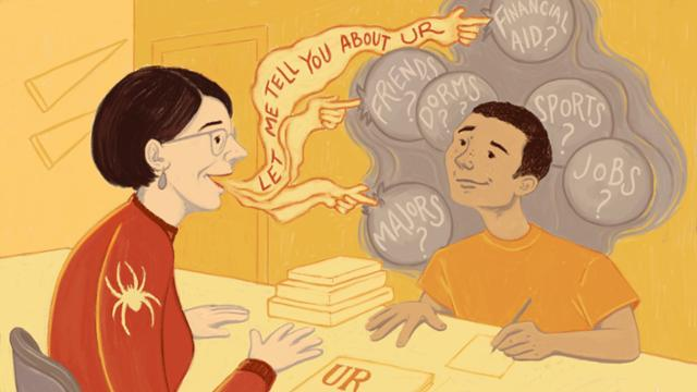 An illustration of a high school guidance counselor sharing information about UR with a prospective student, to help calm their anxieties and concerns.