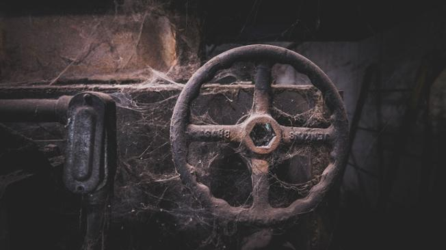 A close up photo of spider webs shrouding a valve wheel in the steam plant
