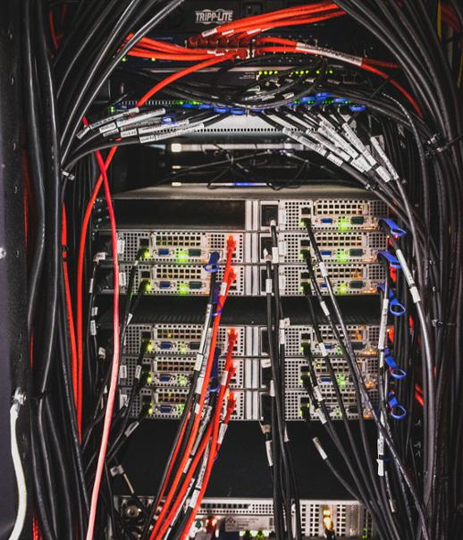 A mass of cables and other equipment in the server farm