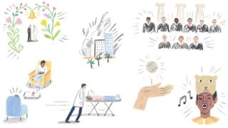 Illustrations depicting alumni experiences such as remarrying at 70, working in emergency medicine, and performing on broadway.