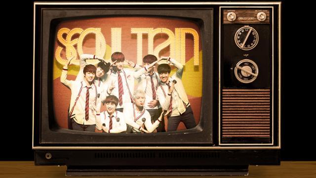 Korean K-pop band on 70s vintage television