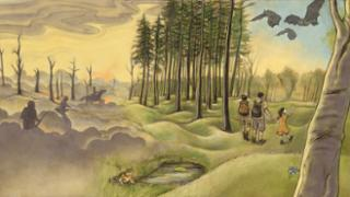 an illustration showing a landscape that changes from right to left, showing the historical progression from the World War 1 battle of Verdun, to a biodiverse space, to a park with a family hiking