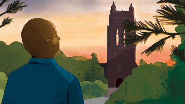 An illustration of Dr. Ronald Crutcher looking at Boatwright tower by sunset
