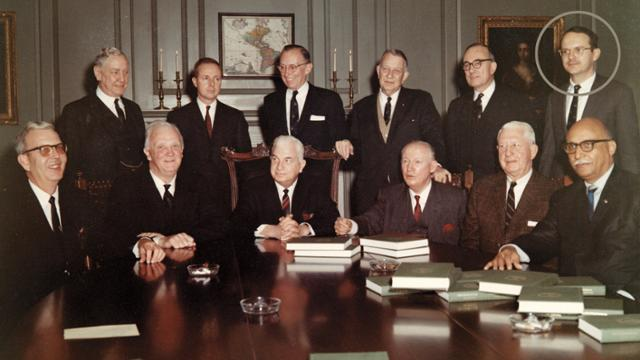 Group photo of the 1971 Virginia constitution commission, with UR alumnus E. Dick Howard circled on the right