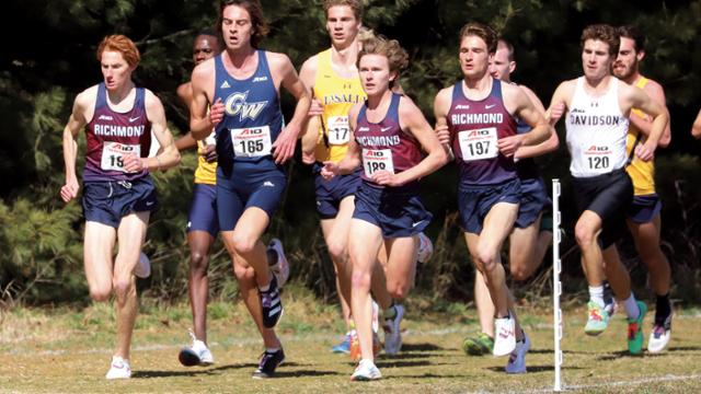 Men's cross country team competing in the 2021 A-10 championships