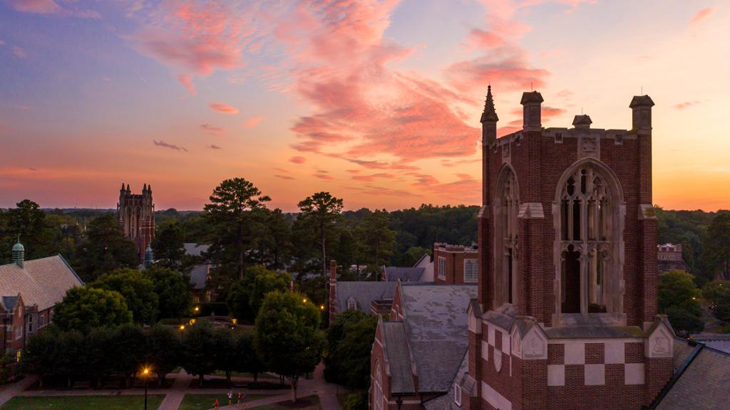 Jepson Hall tower at sunset