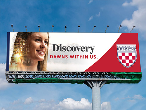 "Billboard advertisement of a student that says, ""Discovery within us."""