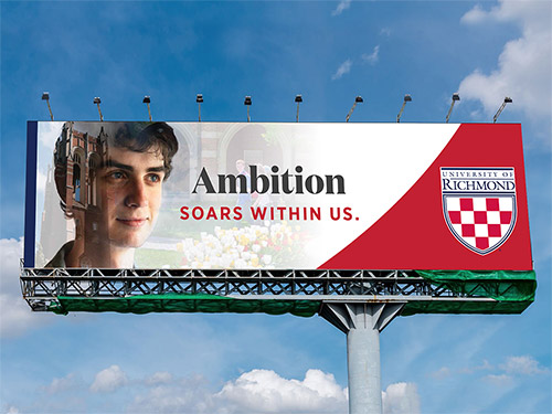 "Billboard advertisement of a student that says, ""Ambition soars within us."""
