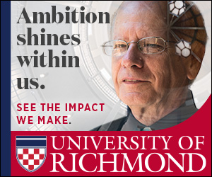 "Digital advertisement of a faculty member with the headline, ""Ambition shines within us."""