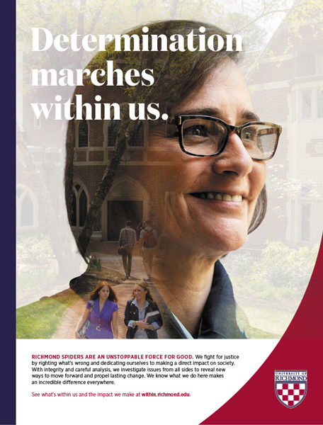 "Print ad featuring a faculty member with the headline, ""Determination marches within us."""