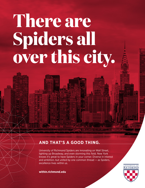 "Print ad featured in the New York Giants yearbook with the headline, ""There are Spiders all over this city. And that's a good thing."""