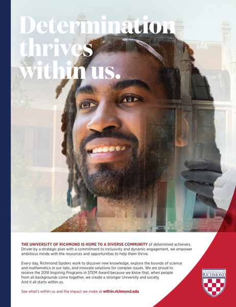 "Print ad featuring a student with the headline, ""Determination thrives within us."""