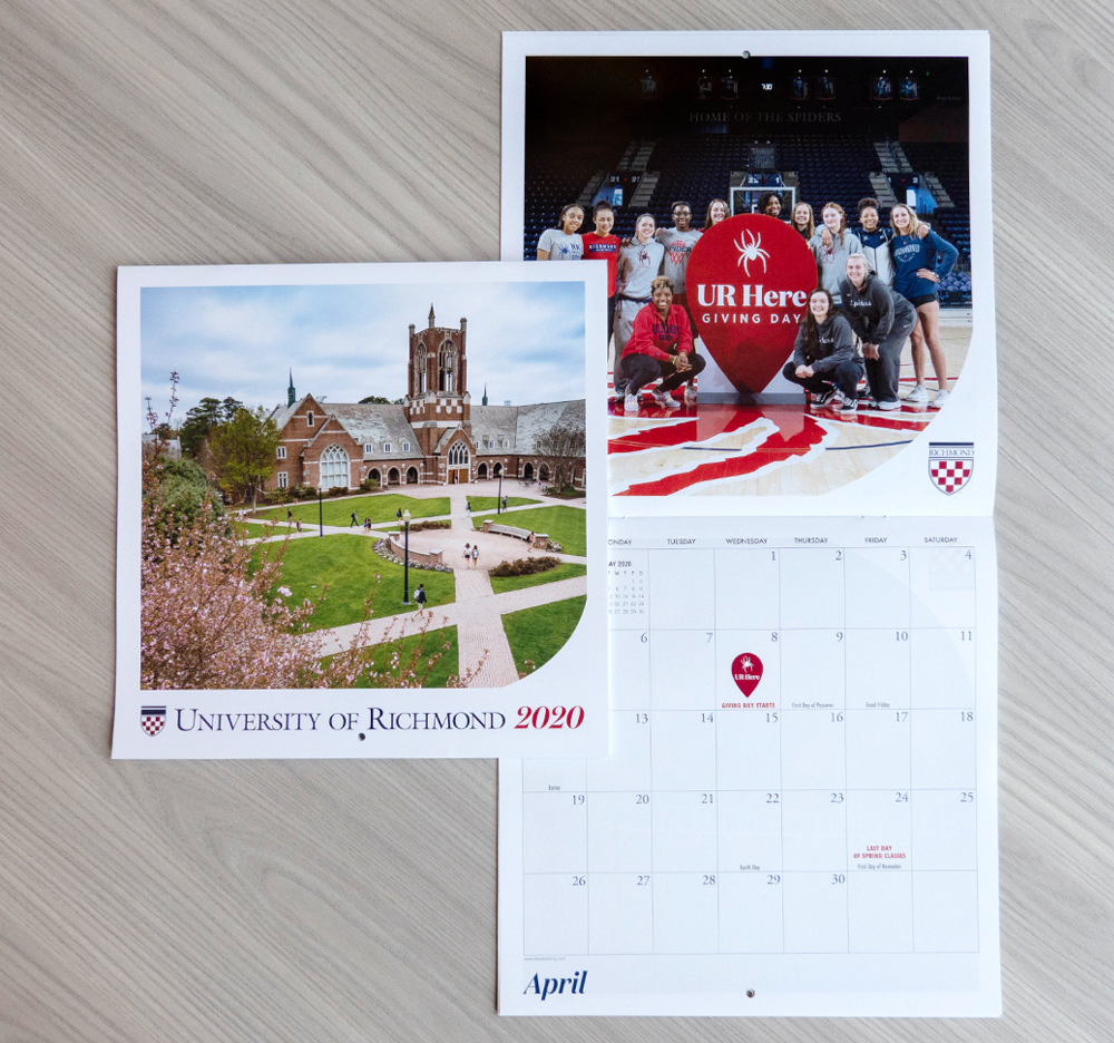 2020 Donor Calendar cover and open example month