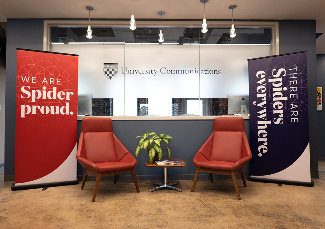 """Two campus banner-ups. One that says, """"We are Spider proud"""" and one that says, """"There are spiders everywhere."""""""