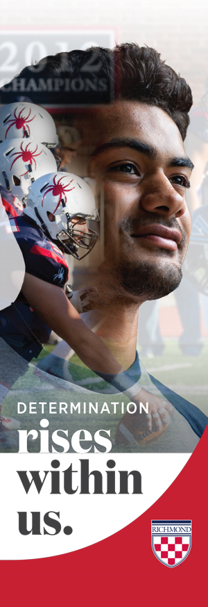 "Campus banner example that says, ""Determination rises within us."""