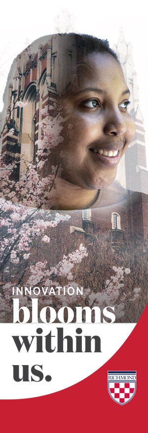 "Campus banner example that says, ""Innovation blooms within us."""