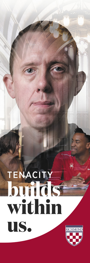 "Campus banner example that says, ""Tenacity builds within us."""