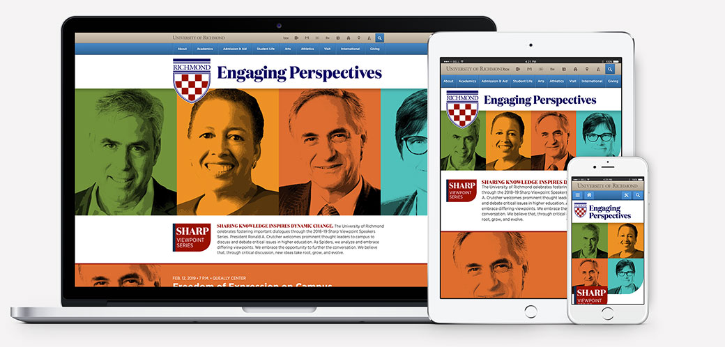 Sharp Viewpoint Series web design on desktop, tablet, and mobile devices.