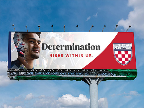 """Billboard example that reads """"Determination Rises Within Us"""""""