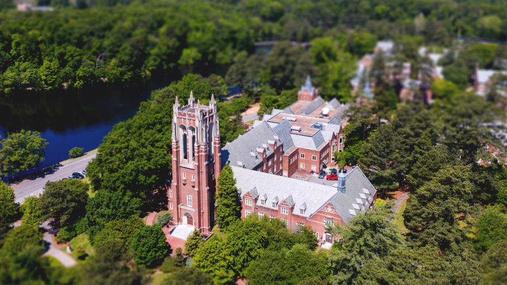 Aerial view of Boatwright Library.