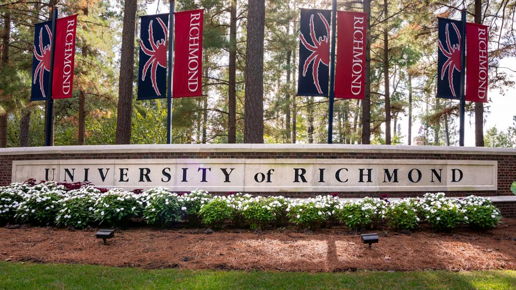 Brick entrance sign to the University of Richmond.