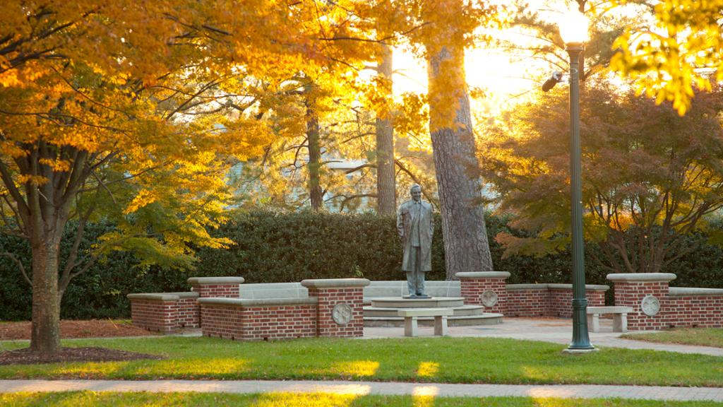 The statue of smiling E. Claiborne Robins is pictured among golden fall leaves