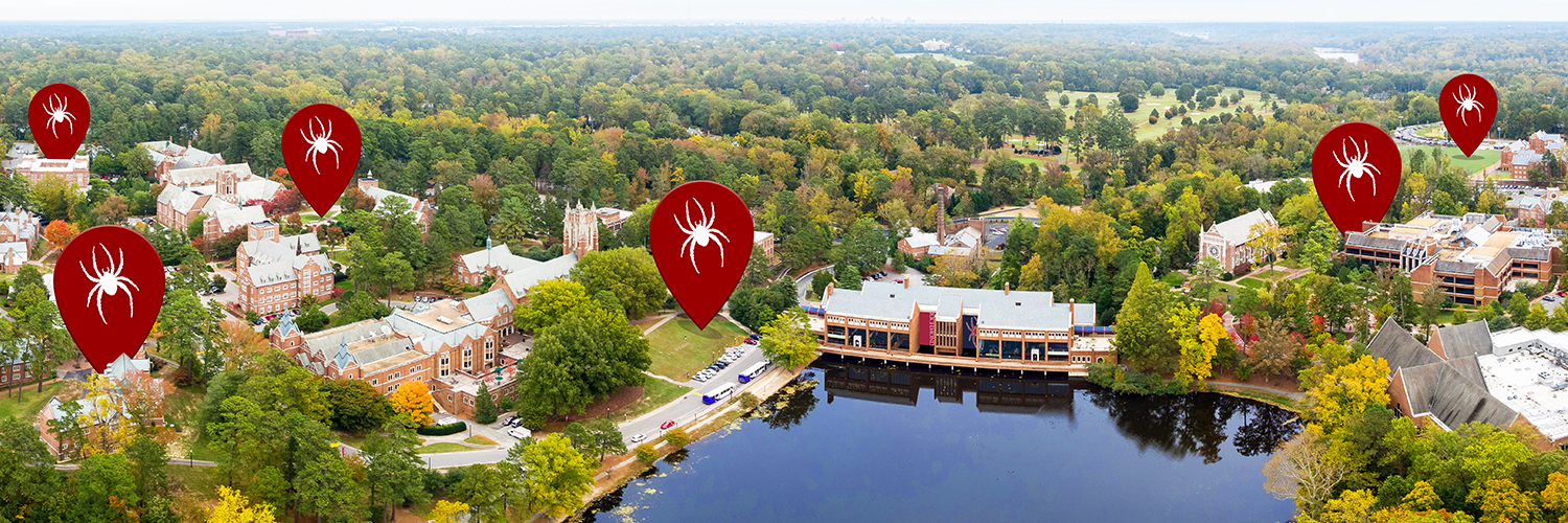 Twitter cover photo of campus with UR Here logo.