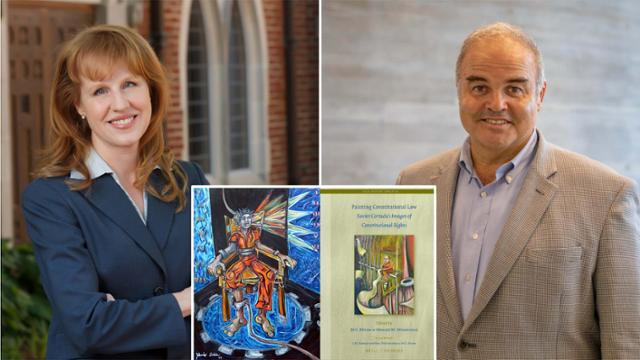 Pictures of Corinna Lain, Xavier Cortada, the Proffitt painting, and Xavier Cortada's book.