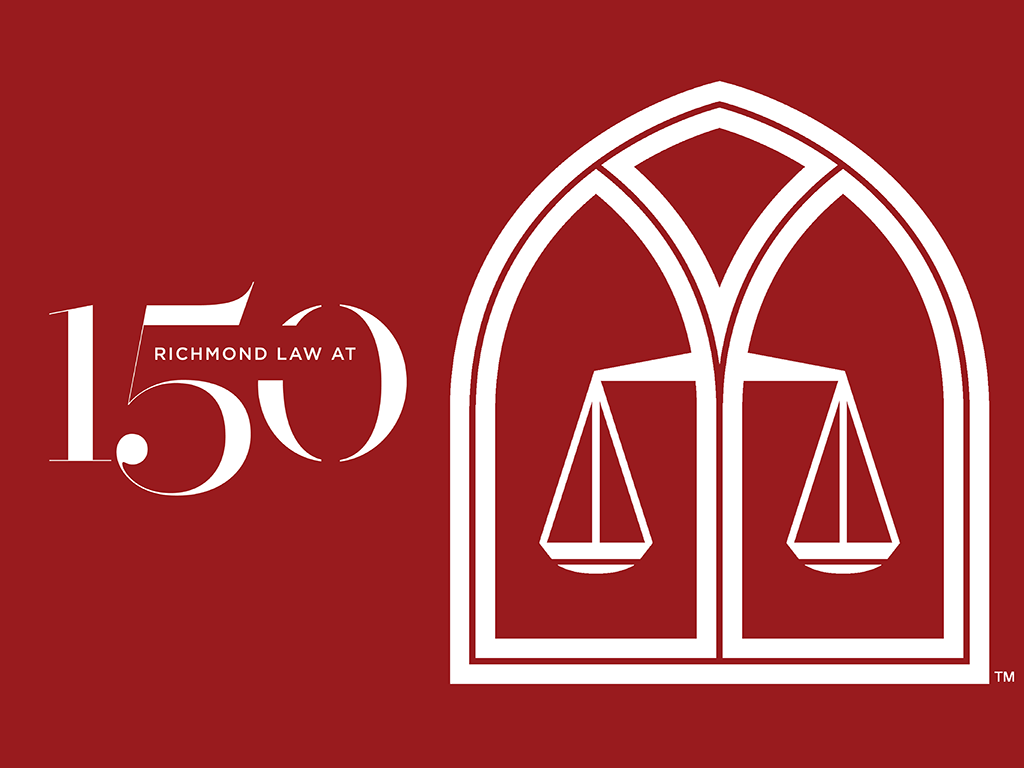 Red Graphic with Richmond Law at 150 logo
