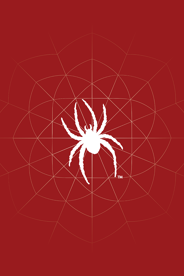 Solid red graphic with white spider logo and web