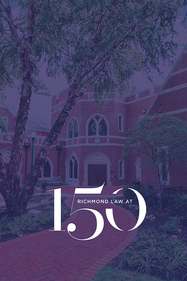 Front of Law School photo with blue overlay and Richmond Law at 150 logo