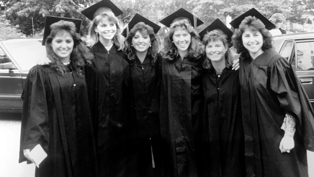 Six students at 1989 commencement