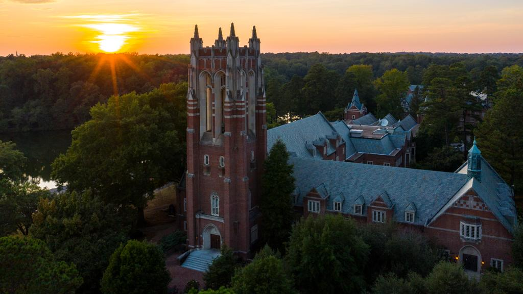 Boatwright Memorial Library at sunset