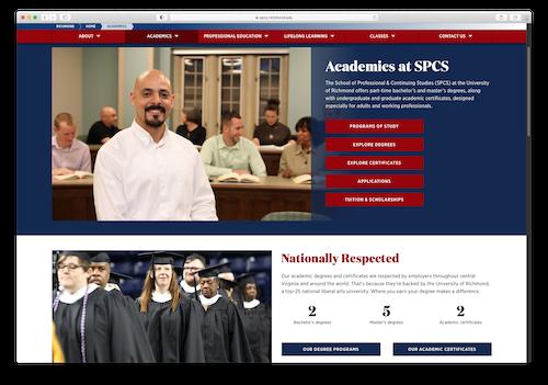 Screenshot of Academics webpage