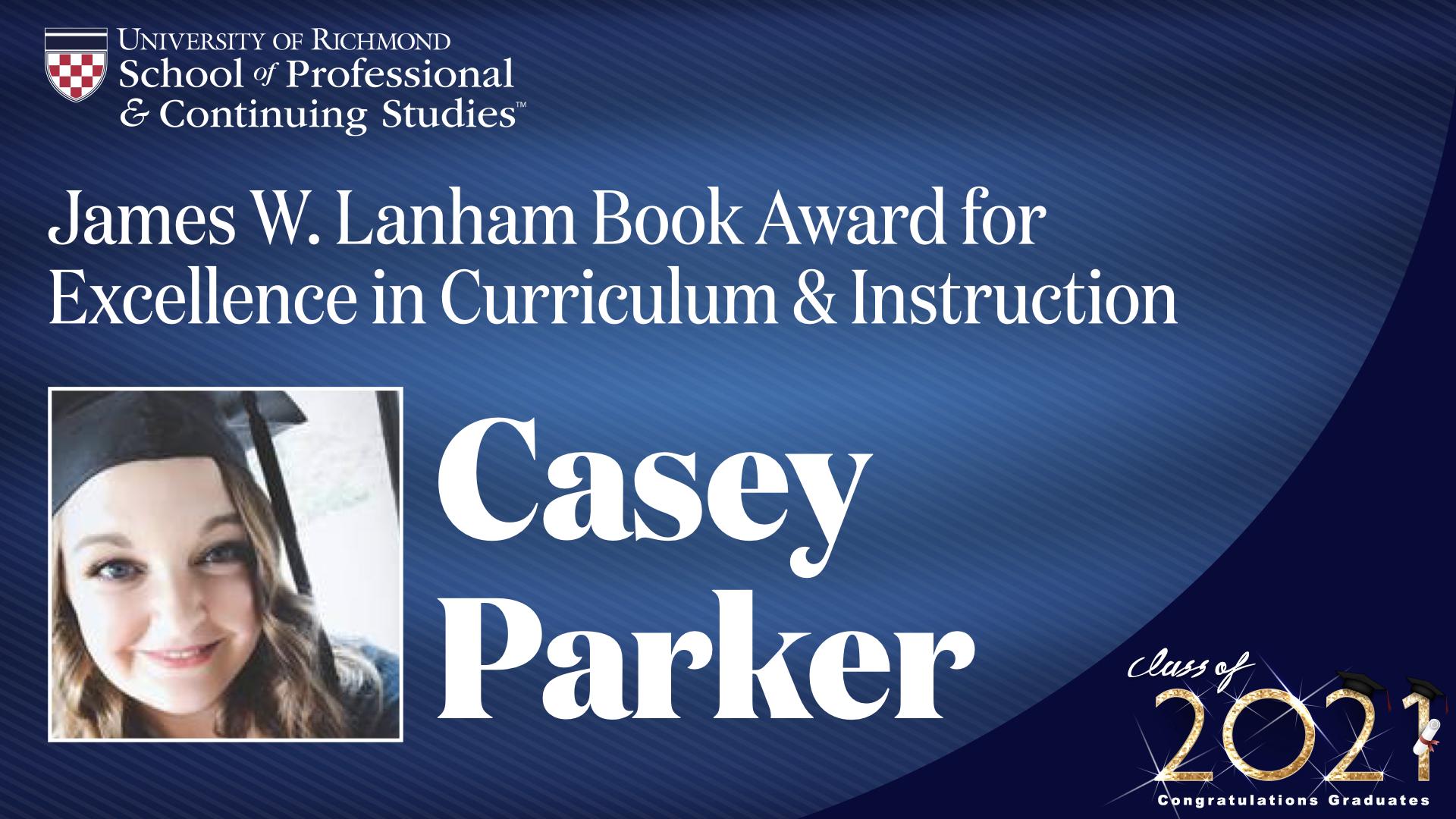 Casey Parker headshot and award name