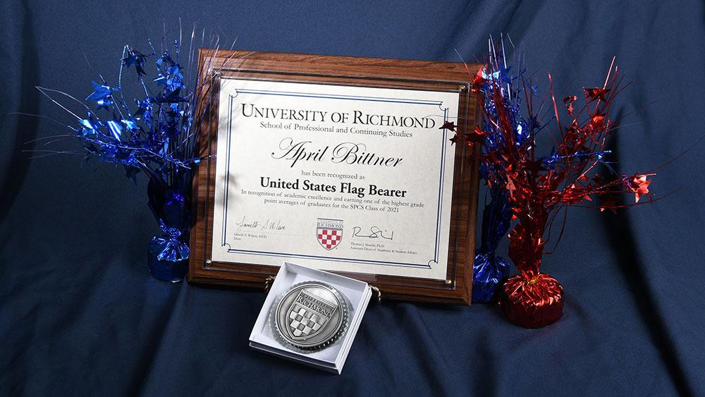 Award plaque for April Bittner