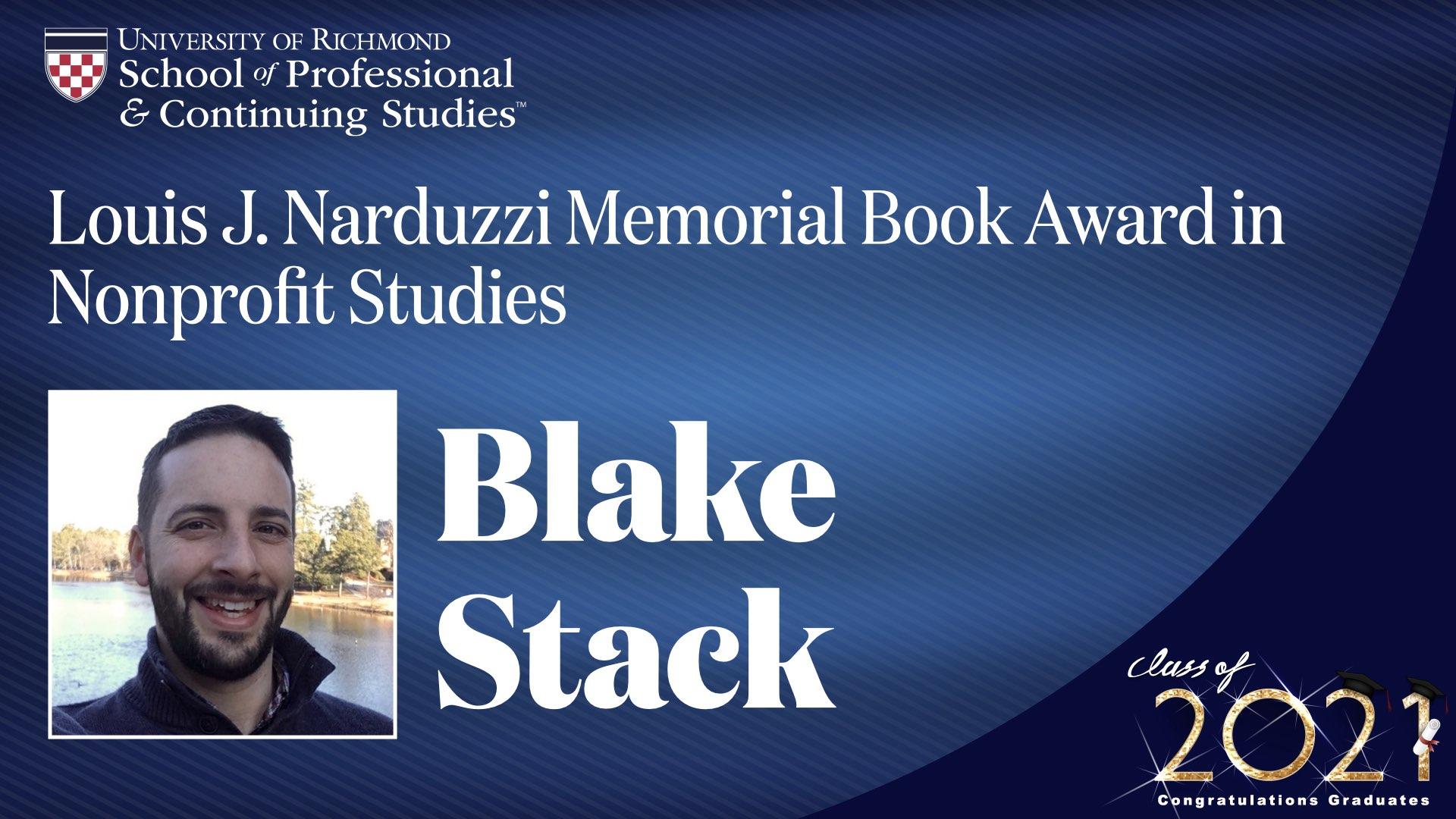 Blake Stack headshot and award name