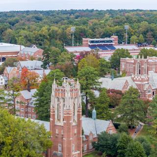 Aerial view of campus. Boatwright Tower is in the foreground with the football stadium in the background.