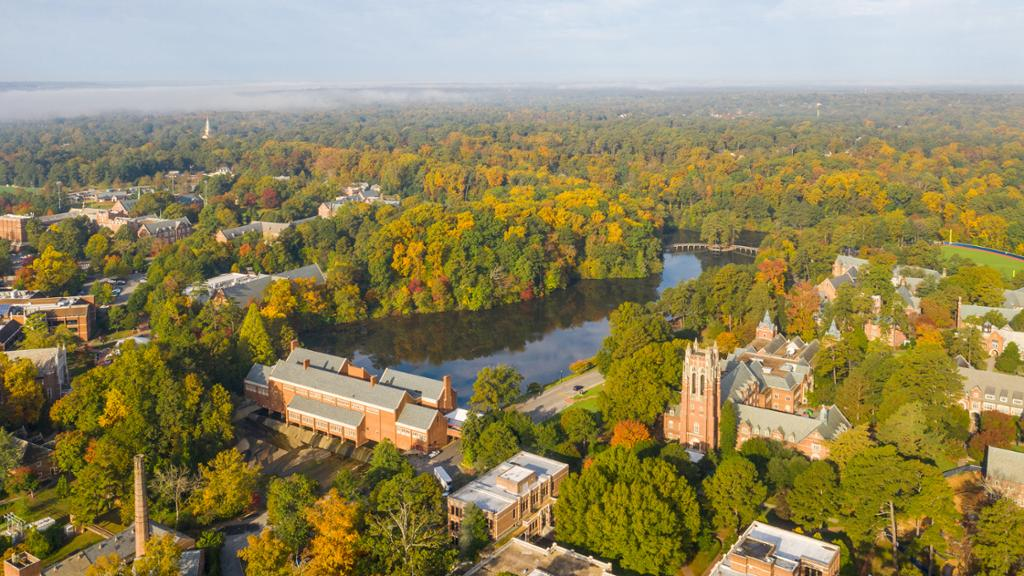 Aerial image of campus in the fall.